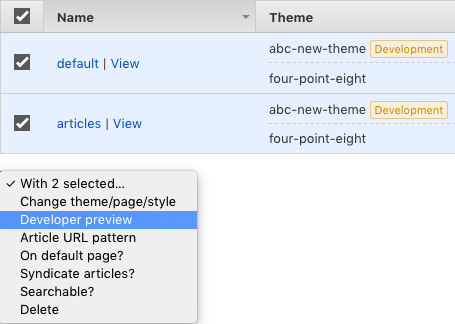 Themes developer preview option